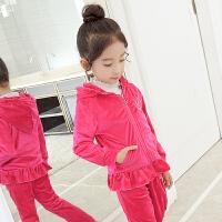 女童洋气春装2018新款儿童天鹅绒女童运动套装两件女童金丝绒套装