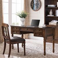 20190402195103203书桌美式实木欧式书房家具仿古办公桌电脑桌简约写字台1.35米 +椅子 否