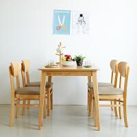 纯实木餐桌椅组合家具简约北欧式小户型家用轻奢餐椅长方形饭桌子 橡胶木餐桌(一桌四椅) (限量) 一桌四椅