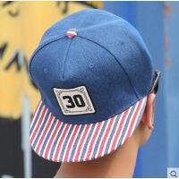 嘻哈平沿帽女士网红同款时尚街舞鸭舌帽 男韩版潮条纹遮阳棒球帽 女户外运动新品