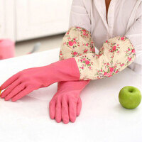20191214233002790家务手套乳胶清洁手套轻便束口花袖手套单层大红色胶胶皮刷碗厨房