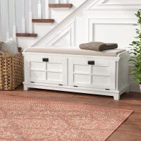 床尾凳欧式美式实木换鞋凳欧式布艺沙发凳长凳储物凳门厅玄关凳鞋柜