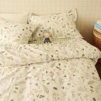 商场同款棉简约田园小清新小碎花被套三件套床单棉秋冬保暖床上四件套