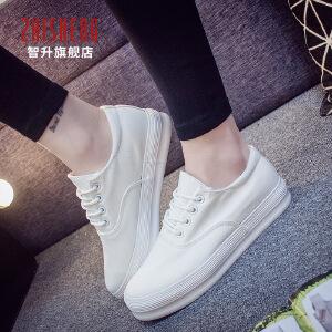 2017春季小白帆布鞋女韩版透气学生女帆布鞋百搭松糕休闲鞋女