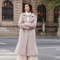 毛呢外套涤纶暗扣2017年冬季长款长袖时尚修身气质