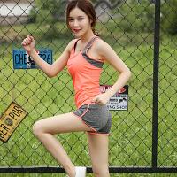 夏季新款女士运动套装显瘦透气锦纶瑜伽服短款跑步健身背心两件套