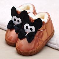 可爱PU皮儿童棉拖鞋包跟男女童宝宝防水滑毛绒保暖居家居棉鞋季