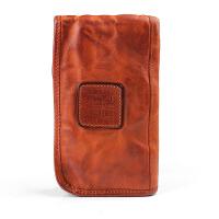 新款设计复古牛皮长款钱包褶皱多功能多卡位拉链手包纯手工手拿包