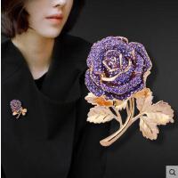 胸针女 配饰 饰品 胸花配饰别针日韩毛衣西装创意披肩扣时尚饰品 紫玫瑰