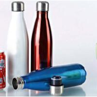 500ML可乐瓶304不锈钢保温杯 双层子弹头水杯真空直身杯保冷杯 PRB04 白色