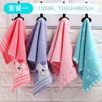 时尚儿童毛巾4条装纯棉纱布柔软吸水卡通可爱洗脸巾挂绳小方巾