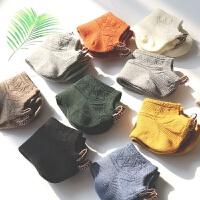 春夏季纯棉女袜子中性纯色布标情侣短筒短袜潮流男士女士夏季船袜 均码(5双装)