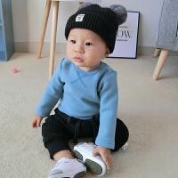 宝宝加绒打底衫季新款0-6个月新生儿纯色保暖男女童上衣婴儿T恤