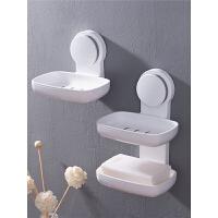 肥皂盒吸盘壁挂香皂架免打孔皂盒沥水卫生间肥皂架壁挂式香皂盒家居日用沥水置物架浴室用品生活日用 双层 白色