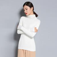 春季新款堆领纯山羊绒衫修身短款长袖针织套头毛衣打底针织衫