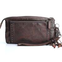 新款原创设计手工长款女士钱包 头层羊皮复古大容量皱褶手包