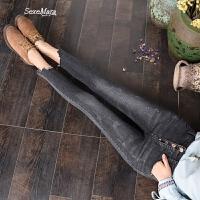 欧洲站女士九分高腰排扣牛仔裤2018春黑灰色显瘦不规则裁剪小脚裤 黑灰色 S