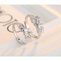 情侣戒指 男女对戒 925银 龙凤开口戒指一对 学生日韩创意 指环送女友