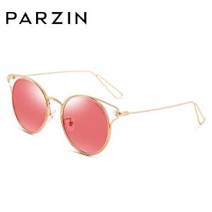 帕森偏光太阳镜 女 迷幻浅色镜 复古金属框潮墨镜 冬季太阳镜8117