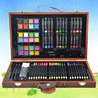 儿童绘画工具套装 木盒美术用品 画笔水彩笔 蜡笔 生日礼物 文具礼盒装