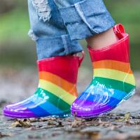 儿童雨鞋宝宝雨靴水晶卡通雨靴3D彩虹雨鞋水鞋雨鞋 红草莓
