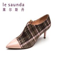 莱尔斯丹 秋冬英伦及踝靴格纹尖头高跟踝靴女靴9T67001