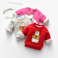 【99元任选3件】罗町婴儿儿童加绒卫衣男女宝宝卡通小熊印花打底卫衣外穿