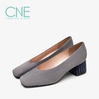 【顺丰包邮,大牌价:269】CNE春夏款温柔鞋绒面方头套脚舒适中跟奶奶鞋女单鞋9T57001