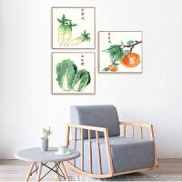 餐厅装饰画北欧沙发背景墙挂画现代三联画墙画蔬果青菜田园壁画Q 80*80 简约白色框 1套3幅(镜面烤瓷)