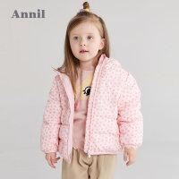 安奈儿童装女童短款棉衣2021冬新款加厚保暖棉服小童宝宝连帽外套