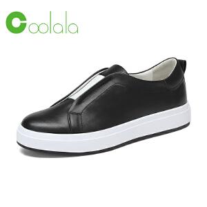 红蜻蜓coolala 2017春季新款 真皮休闲鞋女单鞋 平底套脚鞋女鞋