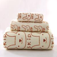 浴巾毛巾童巾三件套比纯棉柔软儿童吸水大毛巾不掉毛毛巾礼盒浴巾大纯棉吸水礼盒 黄色 小兔三件套 140x70cm