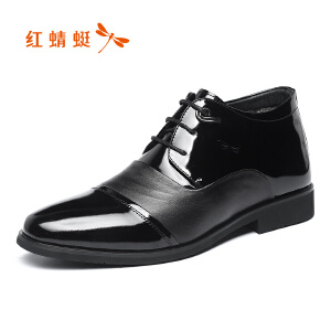 红蜻蜓男鞋2017冬季新品商务正装男士皮鞋时尚舒适高帮棉鞋真皮鞋