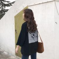 春夏女装韩版原宿风个性人像印花宽松圆领短袖T恤打底衫上衣体恤 均码