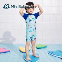 迷你巴拉巴拉男童泳装2021夏款可爱爽滑弹力恐龙印花耐氯泳衣泳帽