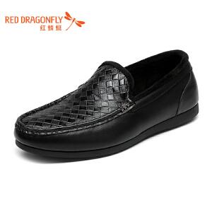 红蜻蜓男鞋 冬季新款正品男士日常休闲鞋乐福鞋 加绒保暖棉鞋皮鞋