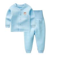 保暖内衣套装加厚纯棉男童女童秋衣秋裤宝宝中小童秋0-4岁 蓝色 坑条.保暖对开套