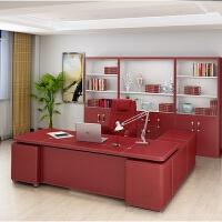 时尚办公家具办公桌办公室老板桌皮面大班台总经理总裁桌简约现代