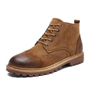 英伦短靴高帮皮鞋男加棉加绒布洛克男鞋休闲韩版潮流秋冬鞋男士马丁靴皮靴