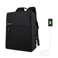 新品双肩包男士商务公文充电背包14寸13电脑包简约多功能书包男