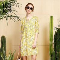 OSA欧莎2017夏装新款女装时尚印花百搭优雅气质桑蚕丝连衣裙B13085
