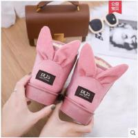 加绒保暖雪地靴女冬季新款百搭韩版学生兔耳朵短筒棉鞋女鞋潮