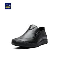 HLA/海澜之家黑色休闲鞋2018秋季新品舒适透气皮鞋套脚男鞋