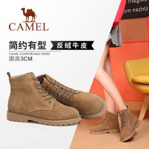 Camel/骆驼女鞋 2018冬季新品时尚英伦潮酷马丁靴休闲低跟靴子女