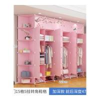 简易的衣柜简约现代经济型组装卧室收纳柜储物柜折叠塑料衣橱柜子 30门15格5挂全角柜鞋格 粉色 6门以上