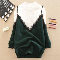 女童加绒卫衣吊带打底衫秋款韩版儿童装加厚中大童拼接蕾丝毛衣 绿色