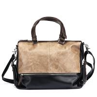手提包横跨公文包男单肩斜挎包休闲个性包包电脑皮包 图片色