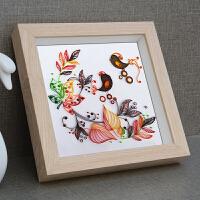 实木标本加厚中空3d立体相框挂墙蝴蝶丝带绣永生花a4衍纸画框定做
