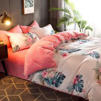 床上四件套珊瑚绒冬季加厚保暖法兰绒网红床单被套女毛毛绒三件套