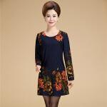秋季韩版新款妈妈装长袖小衫打底裙中老年女装秋装   bjF211-701